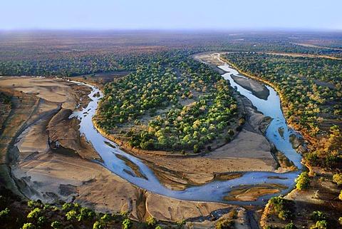 Luangwa River (aerial), Zambia